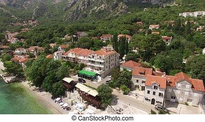Elite hotel on the shore of Kotor Bay in Montenegro. Aerial shoo