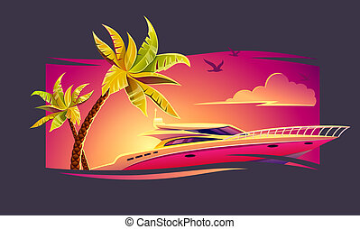 Elite luxury rest on yacht among tropical. Illustration.