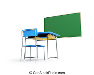 elite school desk 3d Illustrations on a white background