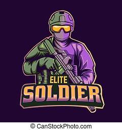 elite soldier mascot logo template