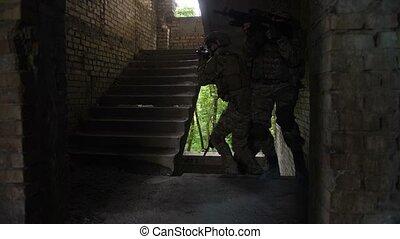 Elite squad of marines entering enemy building