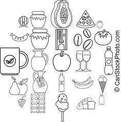 Elite tea icons set, outline style