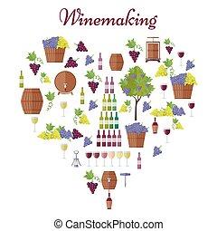 Elite Winemaking Poster Vector in Heart Shape