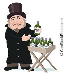 A cartoon elixir salesman presents his bottles of medicine.