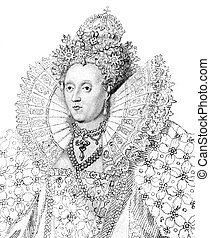 Elizabeth I (1533-1603) on engraving from the 1800s. Queen of England and Queen of Ireland during 1558-1603. Published in 1814 by James Caulfield.