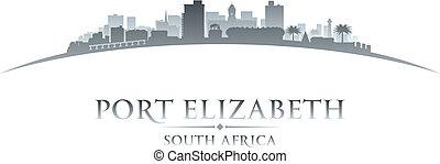 elizabeth port, afrique sud, horizon ville, silhouette.,...