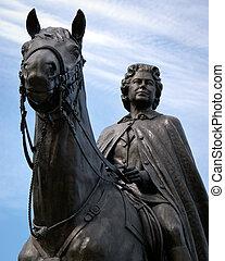 elizabeth, reine, cheval, ii, statue, bronze