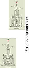 elizabeth, st., basel, kyrka, gränsmärke, switzerland., ikon
