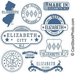 elizabeth, stad, generisk, ny jersey, frimärken, ...