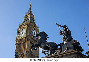 Elizabeth Tower and Boadica statue - The Elizabeth Tower...