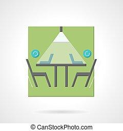 eljárás, lakás, vektor, kreatív, ikon