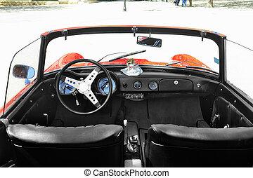 elkészített, öreg, autó, 1962, sport, 1959, piros