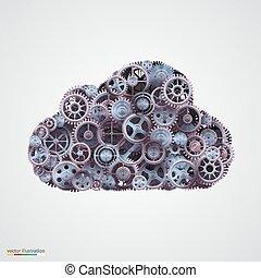 elkészített, cogwheels, felhő