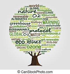elkészített, eco, szöveg, fa, idézőjelek, zöld, barátságos