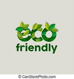 elkészített, eco, szöveg, zöld, fa, aláír, zöld, barátságos