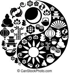 elkészített, ikonok, jelkép, yin, zen, yang