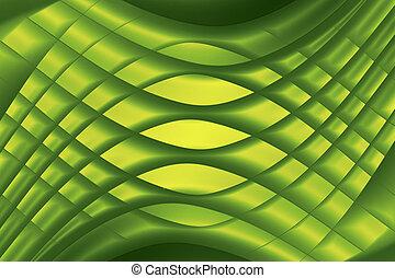 elkészített, makro, kép, shapes., sárga, dolgozat, zöld háttér, motívum, origami, görbe