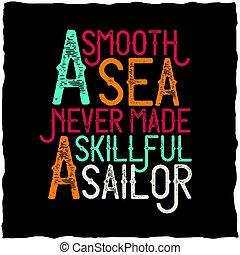 elkészített, poster., tenger, ügyes, motivációs, sima, tengerész, soha
