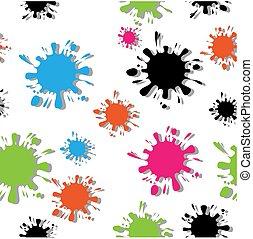elkészített, szín, motívum, csepp, seamless, elszigetelt, blots, tinta, fehér, árnyék