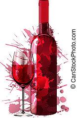 elkészített, színes, pohár, loccsan, palack, bor