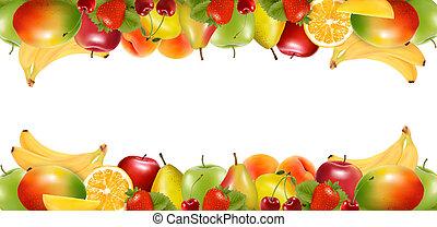 elkészített, vector., érett, fruit., két, finom, határok