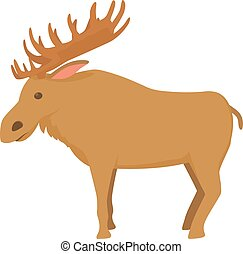 Elk icon , cartoon style