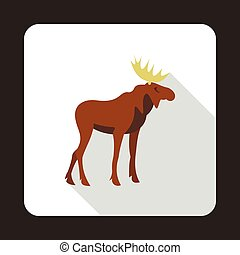 Elk icon, flat style