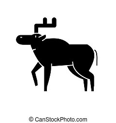 elk icon, vector illustration, sign on isolated background -...