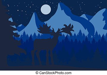 Elk in the night coniferous forest near the mountains
