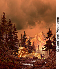 Elk in the Rockies - Image from an original painting by ...