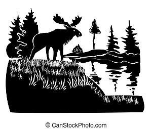 elk - moose stands on a hill on a white background