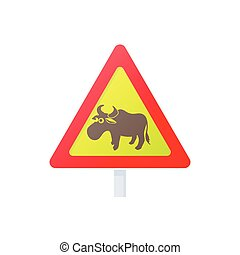 Elk road sign icon, cartoon style