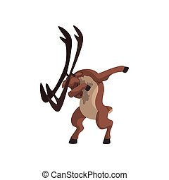 ElK standing in dub dancing pose, cute cartoon animal doing dubbing vector Illustration on a white background