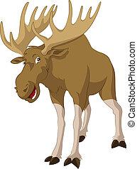 Elk - Vector image of big funny cartoon elk