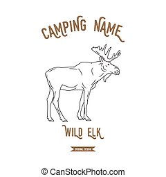 Elk vector illustration. European animals silhouettes vintage.