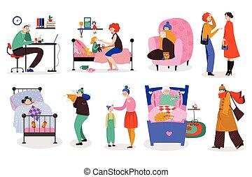 elkap, influenza, betűk, hideg, emberek, vektor, állhatatos, ábra, férfiak, karikatúra, nők, elszigetelt
