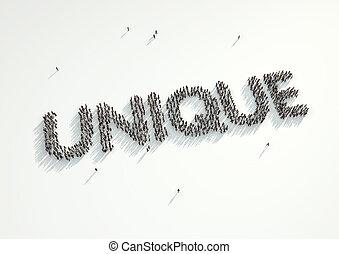 elke, alles, concept, grit, vorm, mensenmassa, wij, woord, verzamelde, anders, samen, hun, persoon, 'unique'., blik, hoe, same., luchtopnames, nog, persoonlijkheid