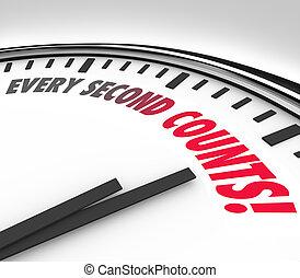 elke, tweede, tellingen, klok, aftellen, deadline