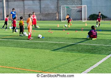 elken arcmás, közül, gyerekek, képzés, alatt, futball, akadémia