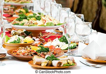 ellátás, élelmiszer, asztal, állhatatos, dekoráció