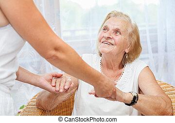 ellátás, törődik, öregedő