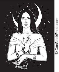 ella, bruja, serpiente, manos, hermoso