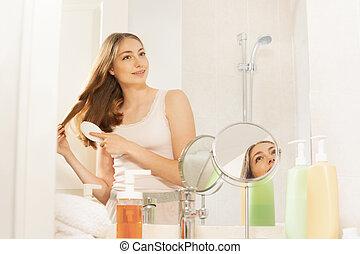 ella, cepillado, bastante, pelo largo, cuarto de baño, mujer