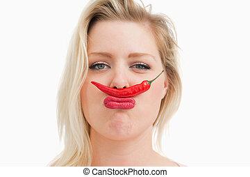 ella, chile, colocación, boca, nariz, mujer, rubio, entre