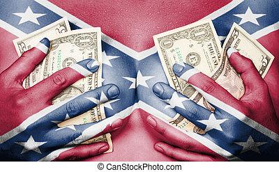 ella, dinero, sudoroso, bandera, pecho, confederado, cubierto, niña