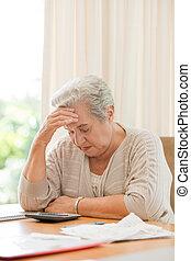 ella, doméstico, calculador, jubilado, mujer, cuentas