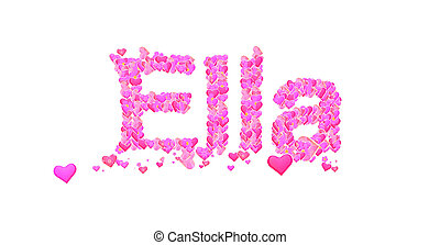 Leonie female name with hearts  Name set with hearts