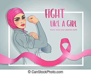 ella, feminista, vendimia, poster., niña, levantado, arriba...