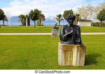 ella, fitzgerald, statue, montreux, switzerland., bronze
