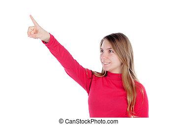 ella, indicar, adolescente, dedo, niña, rubio, rojo, algo